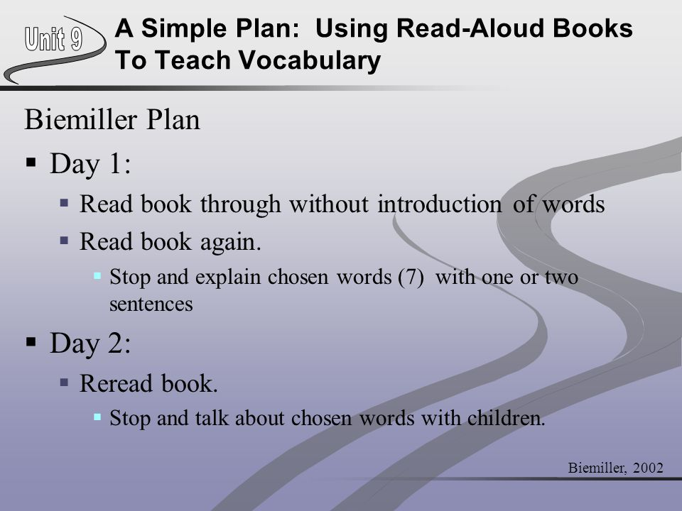 A Simple Plan: Using Read-Aloud Books To Teach Vocabulary