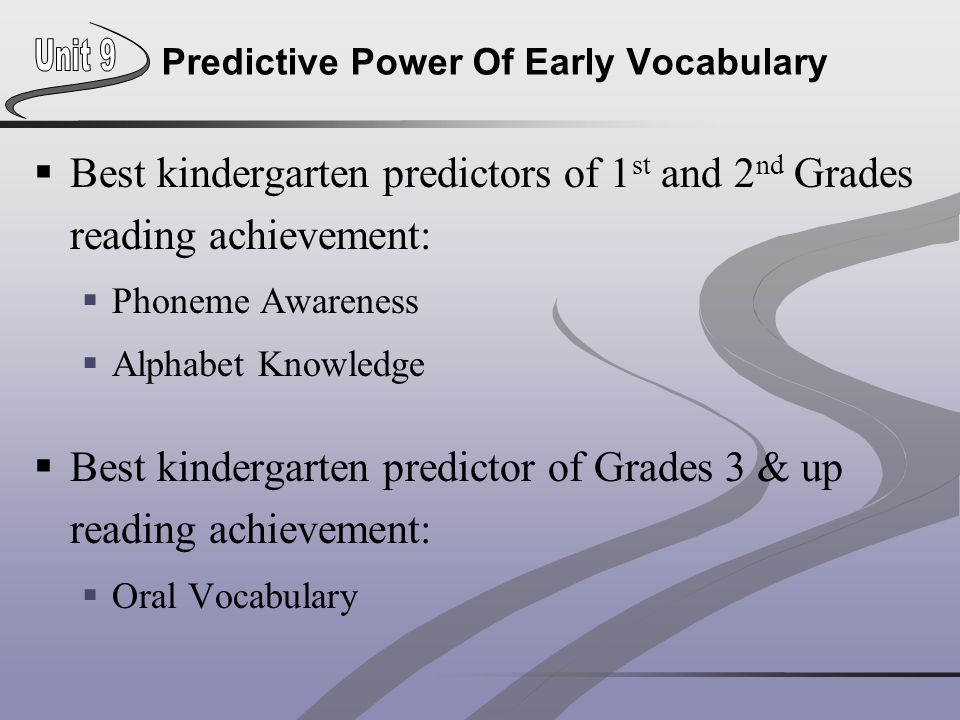 Predictive Power Of Early Vocabulary