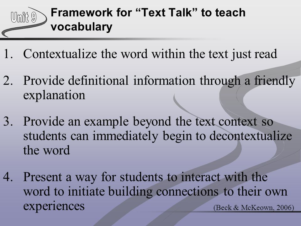 Framework for Text Talk to teach vocabulary