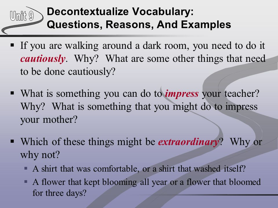 Decontextualize Vocabulary: Questions, Reasons, And Examples