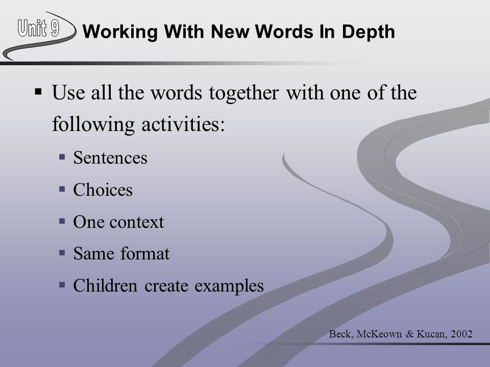 Working With New Words In Depth