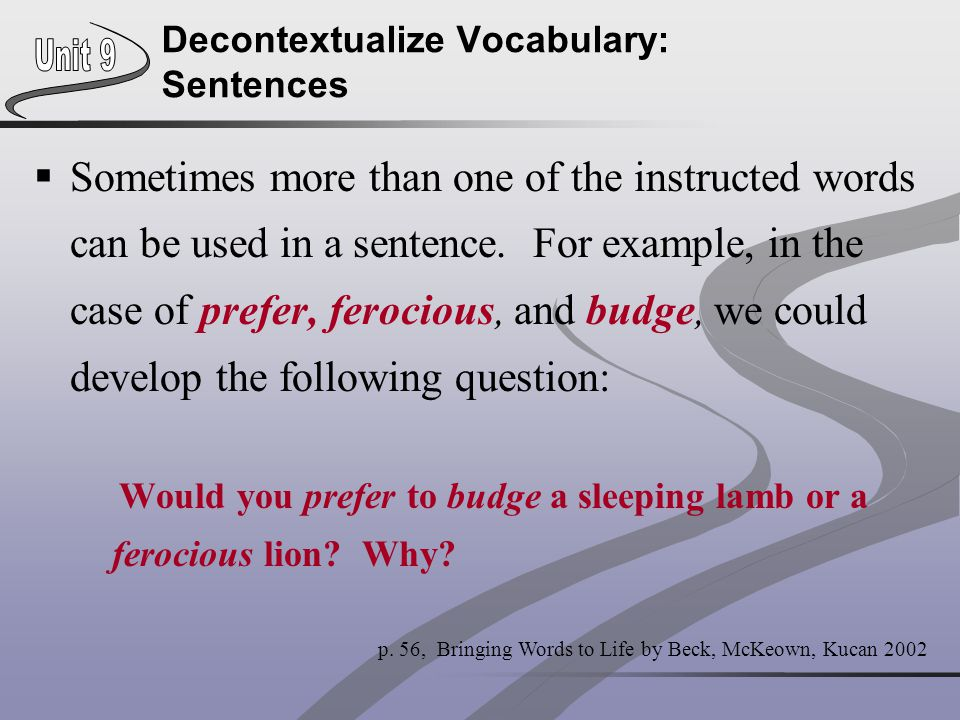 Decontextualize Vocabulary: Sentences