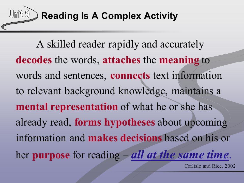 Reading Is A Complex Activity