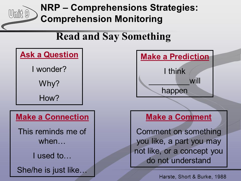 NRP – Comprehensions Strategies: Comprehension Monitoring