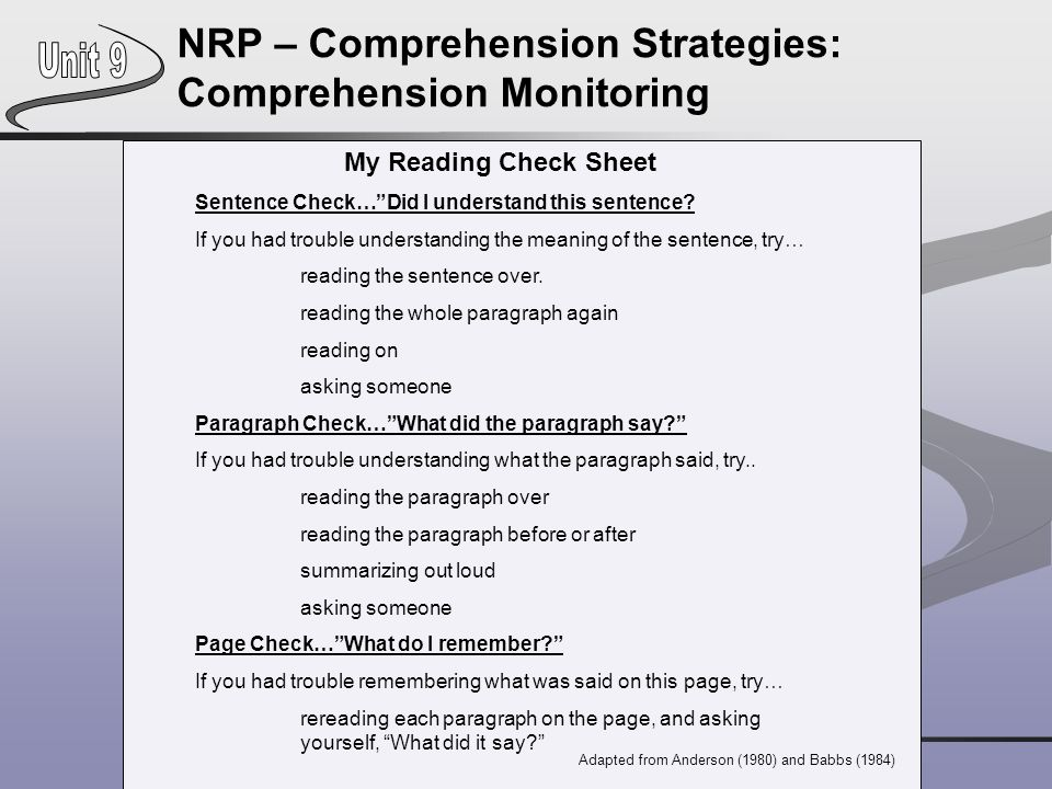 NRP – Comprehension Strategies: Comprehension Monitoring