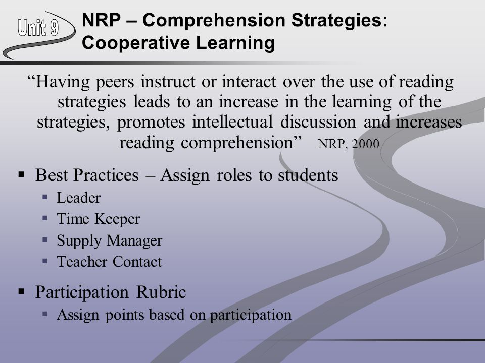 NRP – Comprehension Strategies: Cooperative Learning