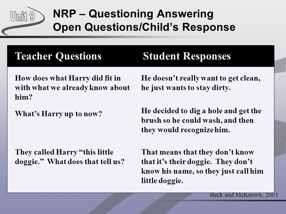 NRP – Questioning Answering Open Questions/Child's Response