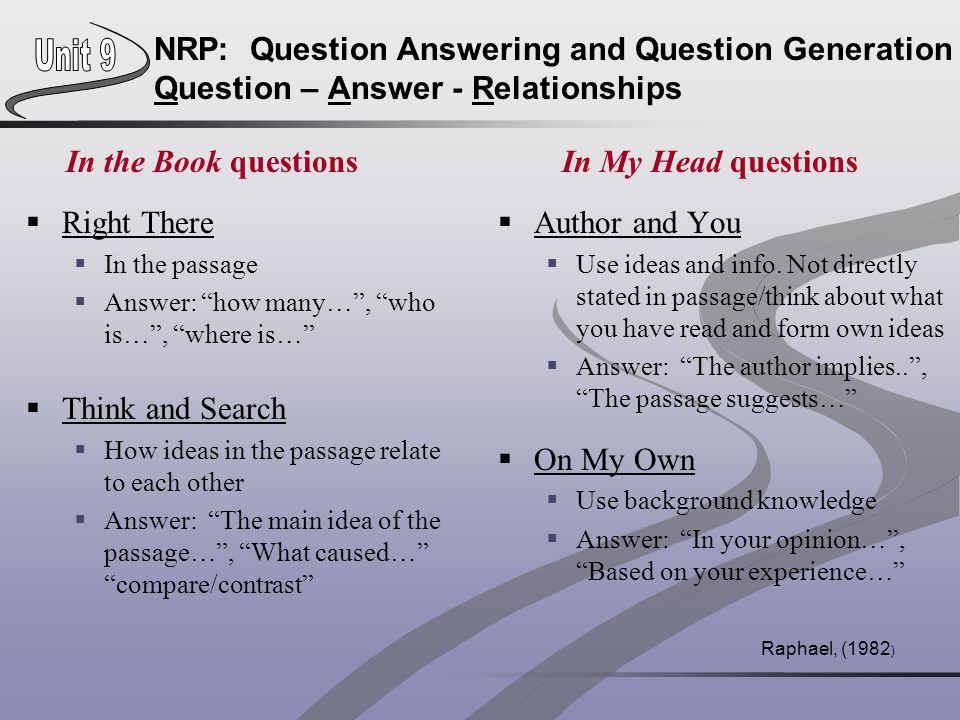 NRP: Question Answering and Question Generation Question – Answer - Relationships