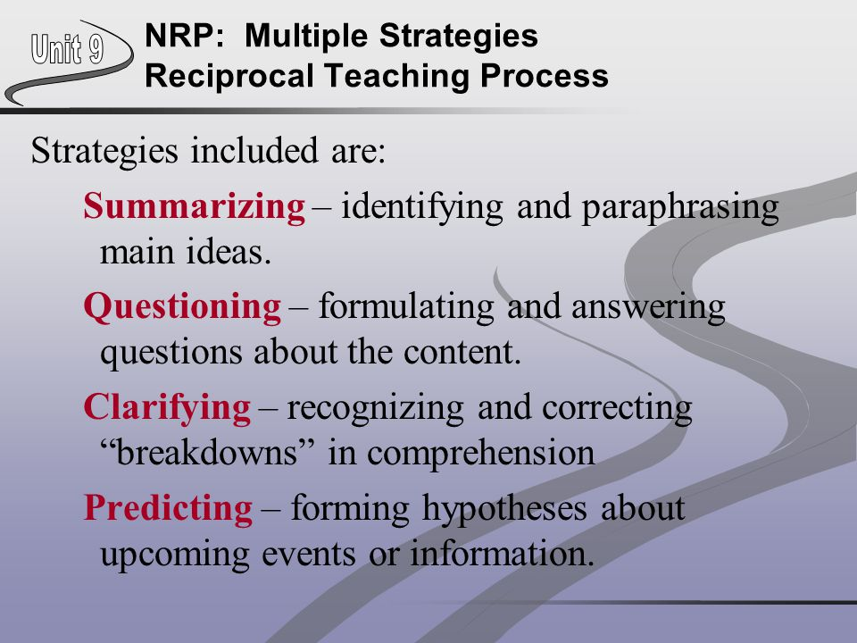 NRP: Multiple Strategies Reciprocal Teaching Process