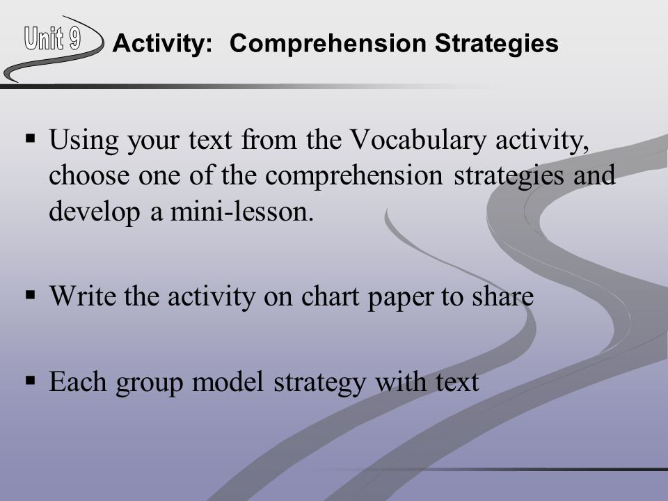 Activity: Comprehension Strategies