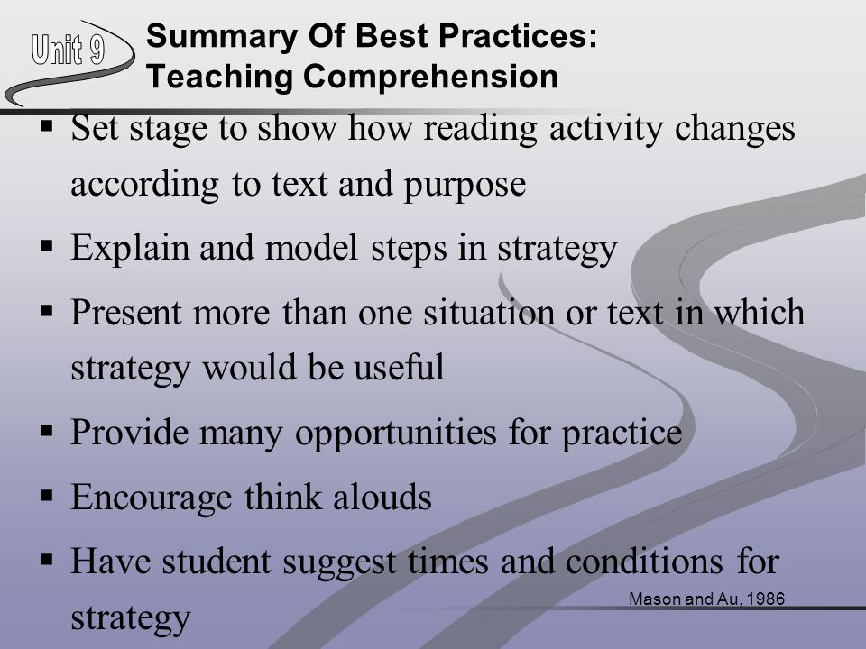 Summary Of Best Practices: Teaching Comprehension