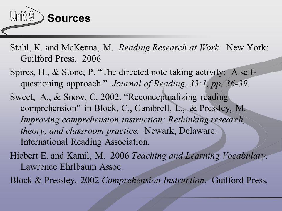 Sources Stahl, K. and McKenna, M. Reading Research at Work. New York: Guilford Press. 2006.