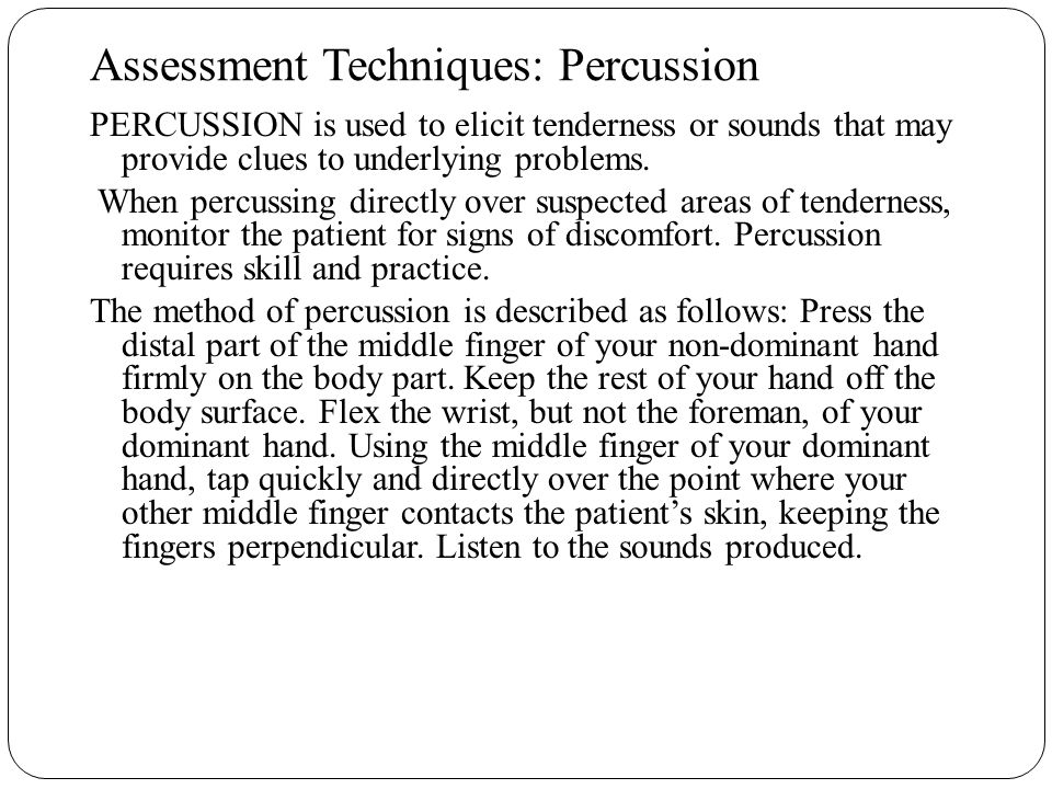 Assessment Techniques: Percussion