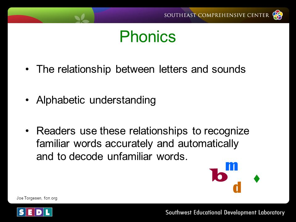 s b Phonics m d The relationship between letters and sounds