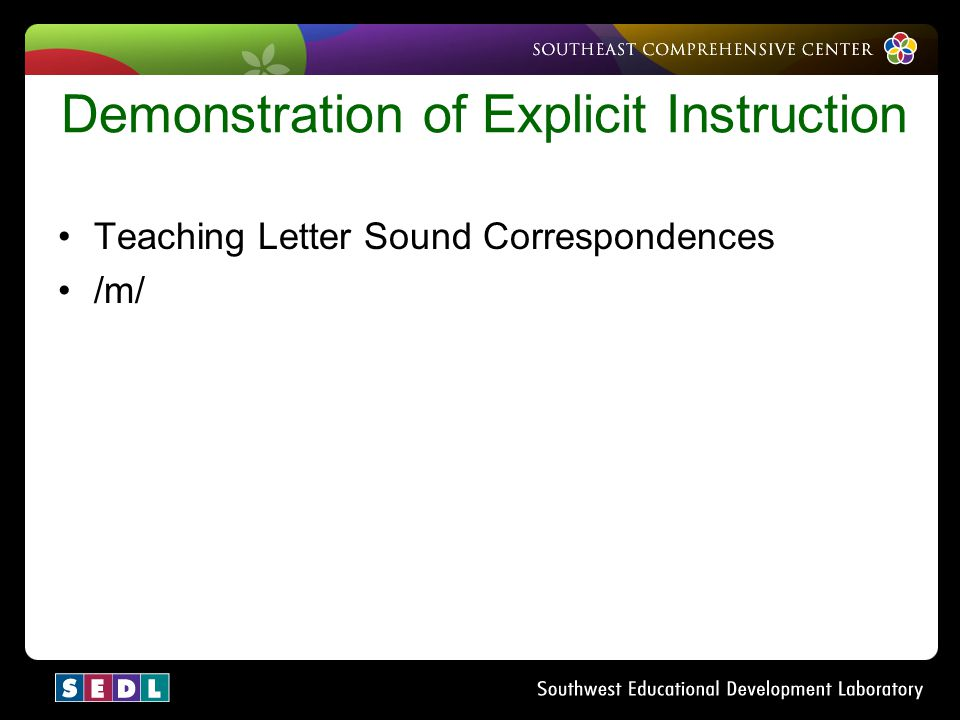Demonstration of Explicit Instruction