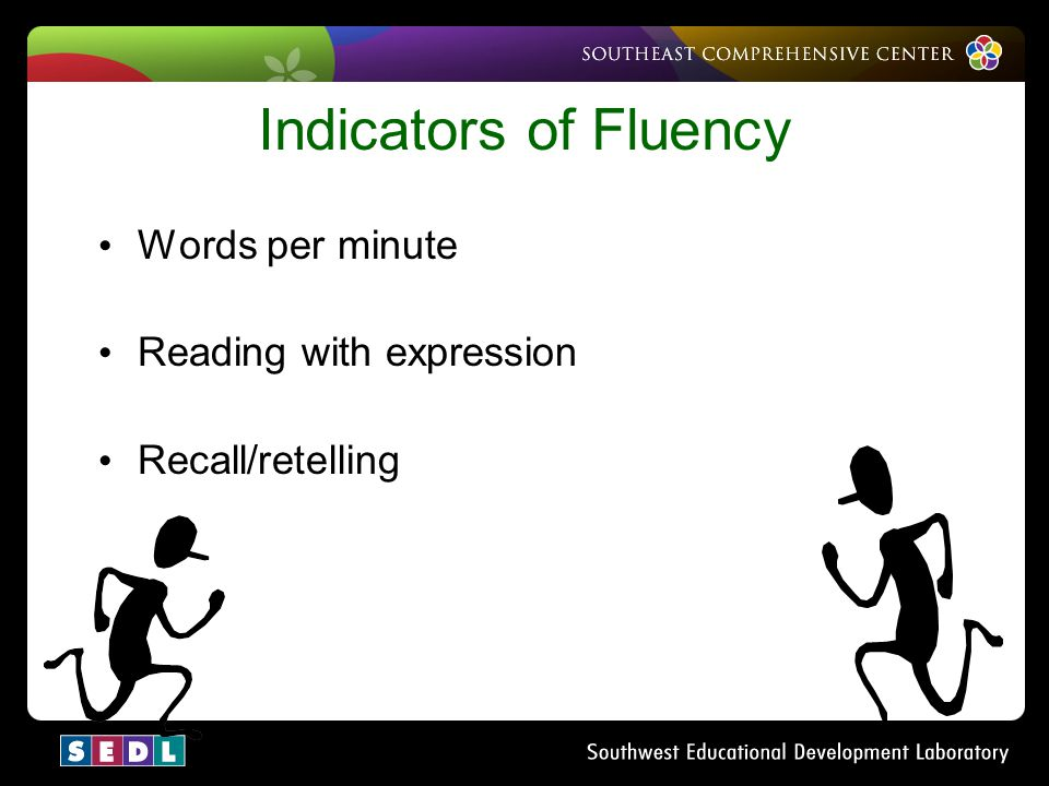 Indicators of Fluency Words per minute Reading with expression