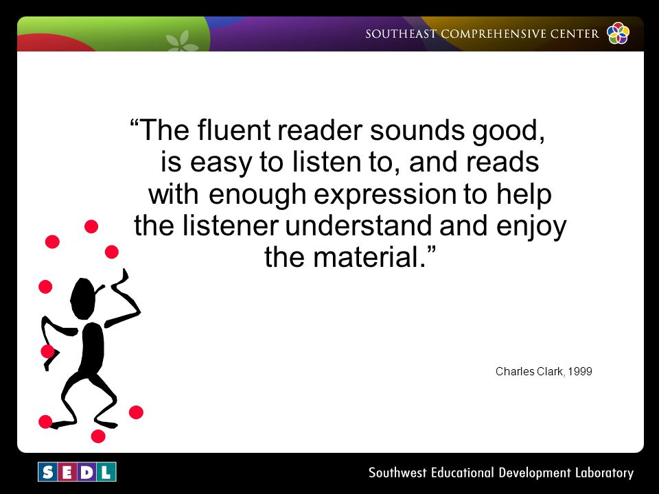 The fluent reader sounds good, is easy to listen to, and reads with enough expression to help the listener understand and enjoy the material.