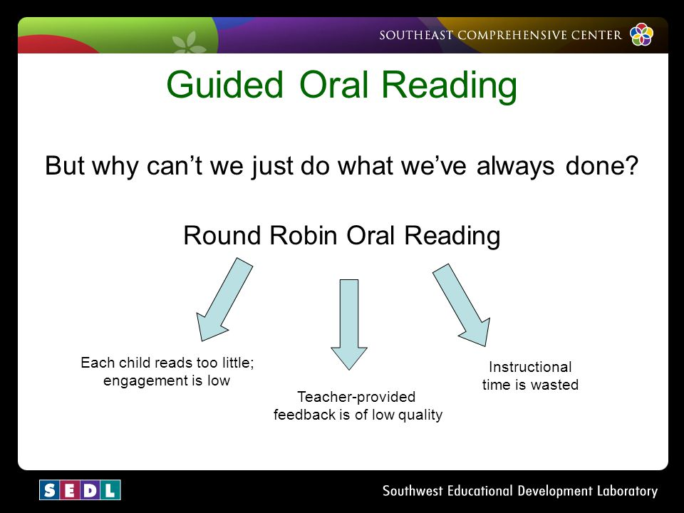 Guided Oral Reading But why can't we just do what we've always done