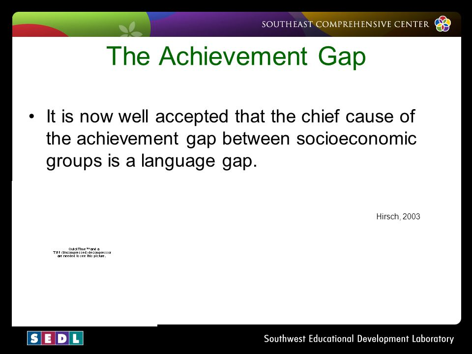 The Achievement Gap It is now well accepted that the chief cause of the achievement gap between socioeconomic groups is a language gap.