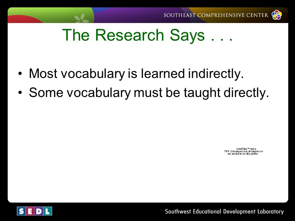 The Research Says . . . Most vocabulary is learned indirectly.