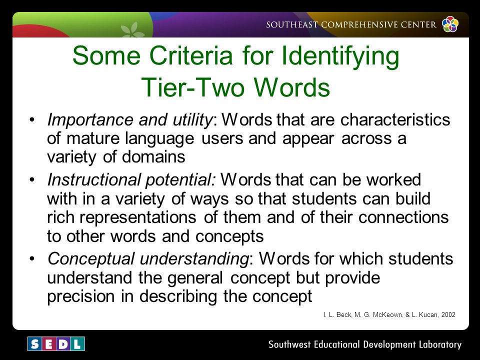 Some Criteria for Identifying Tier-Two Words