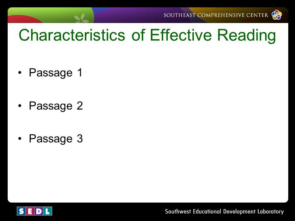 Characteristics of Effective Reading