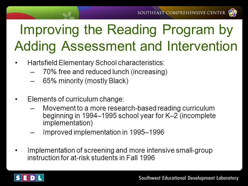 Improving the Reading Program by Adding Assessment and Intervention
