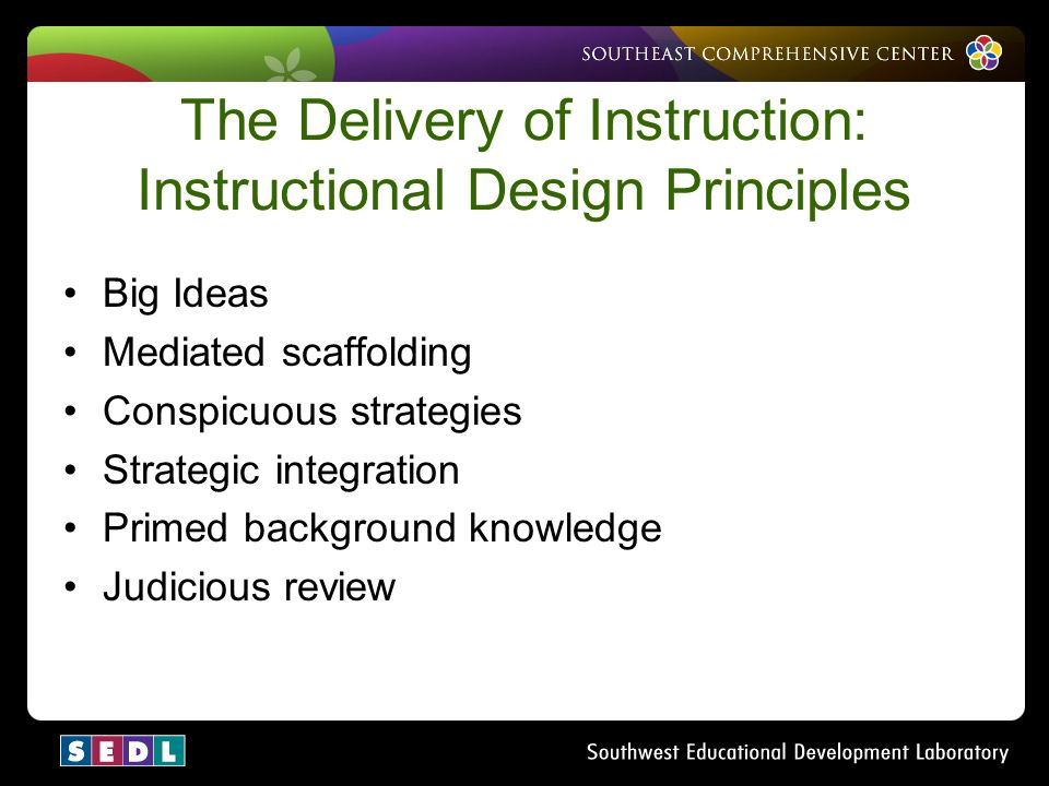The Delivery of Instruction: Instructional Design Principles