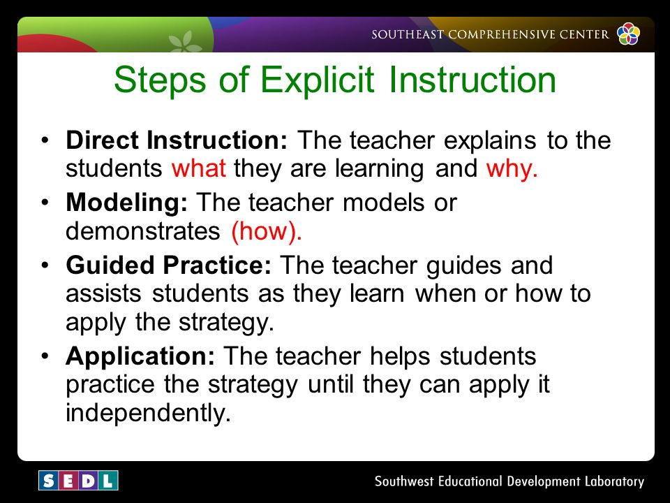 Steps of Explicit Instruction