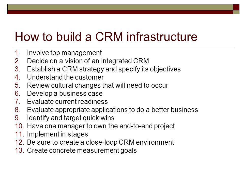 How to build a CRM infrastructure