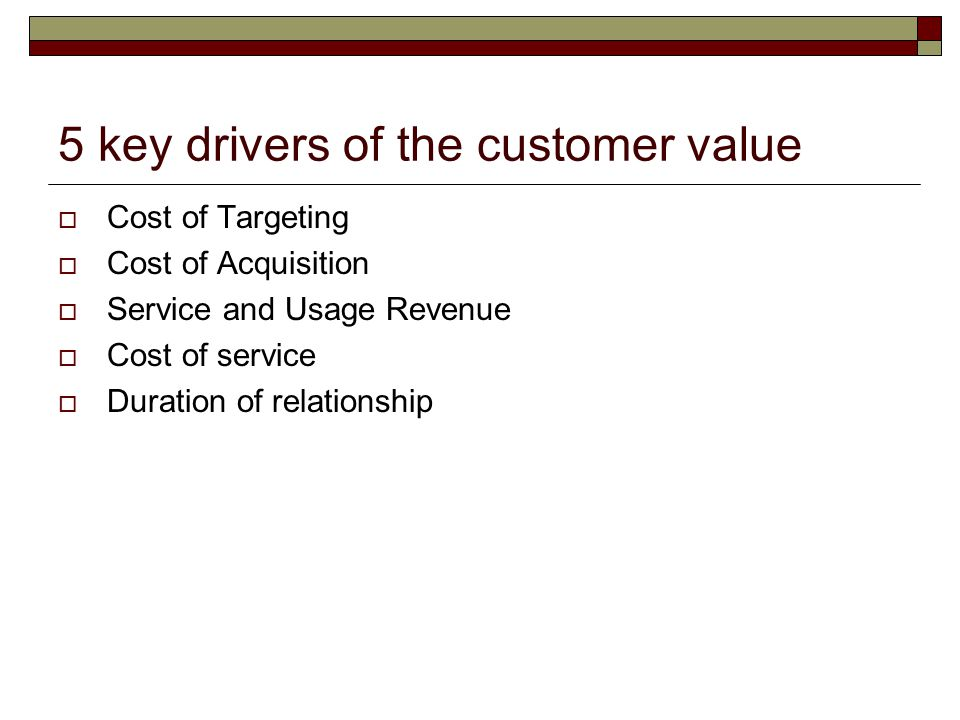 5 key drivers of the customer value