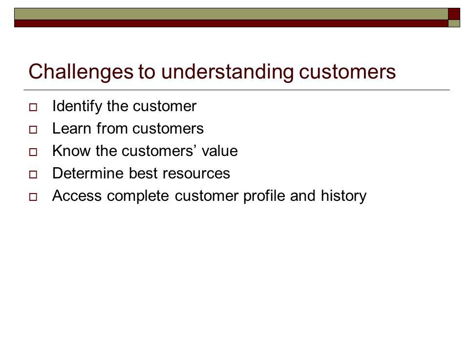 Challenges to understanding customers