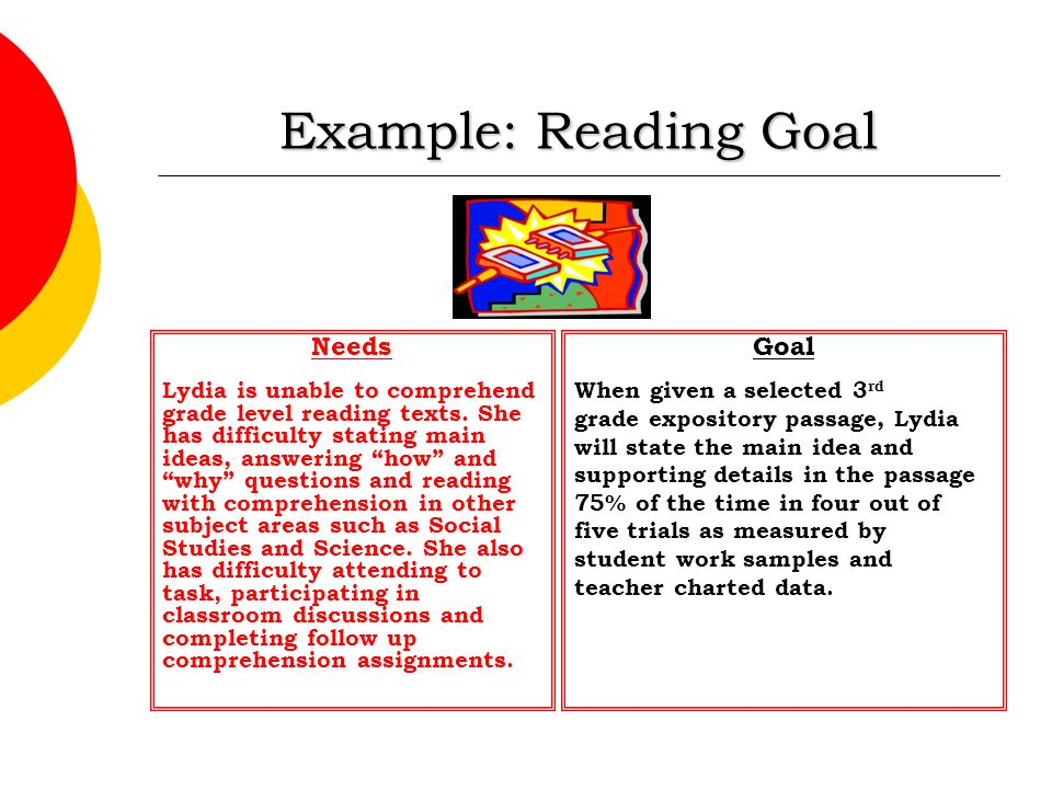 Example: Reading Goal Needs Goal