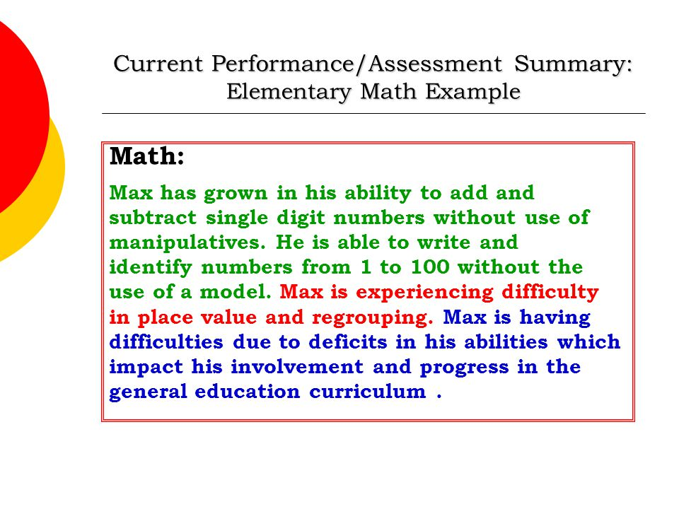 Current Performance/Assessment Summary: Elementary Math Example