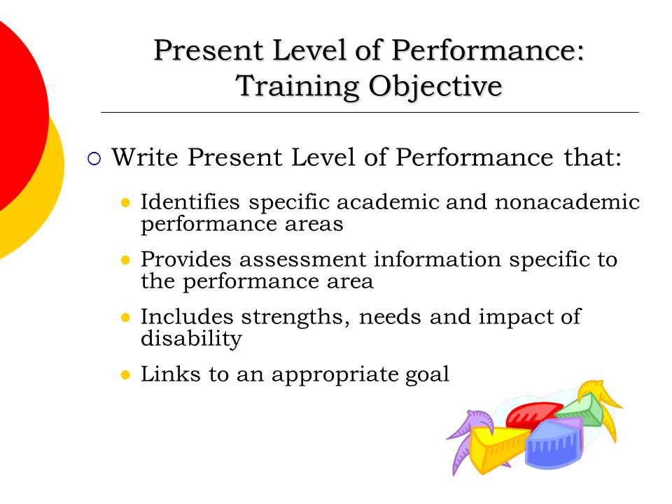 Present Level of Performance: Training Objective