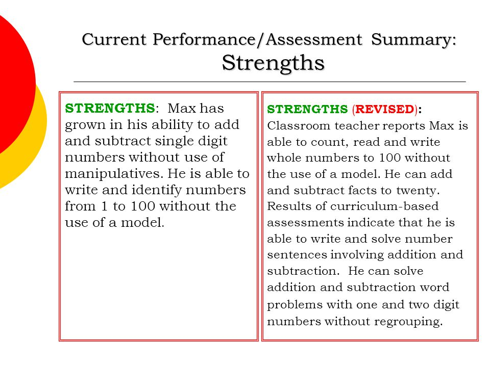 Current Performance/Assessment Summary: Strengths