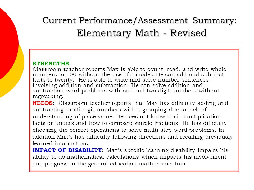 Current Performance/Assessment Summary: Elementary Math - Revised