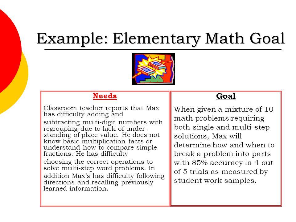 Example: Elementary Math Goal