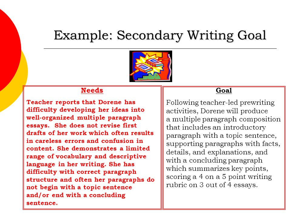 Example: Secondary Writing Goal