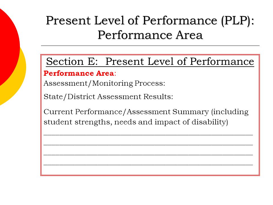 Present Level of Performance (PLP): Performance Area