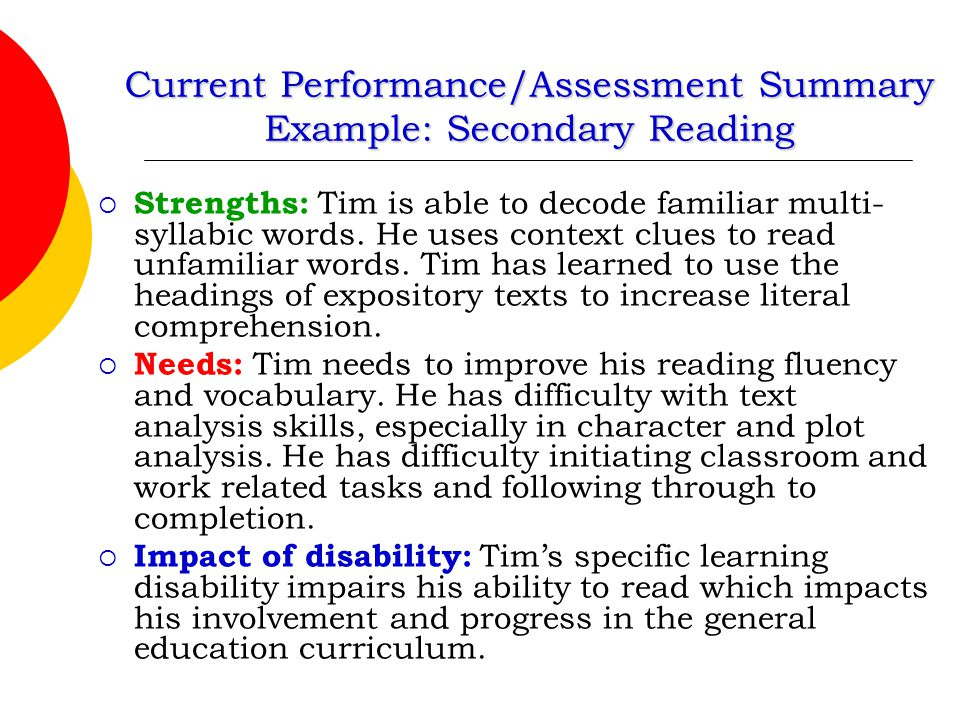 Current Performance/Assessment Summary Example: Secondary Reading