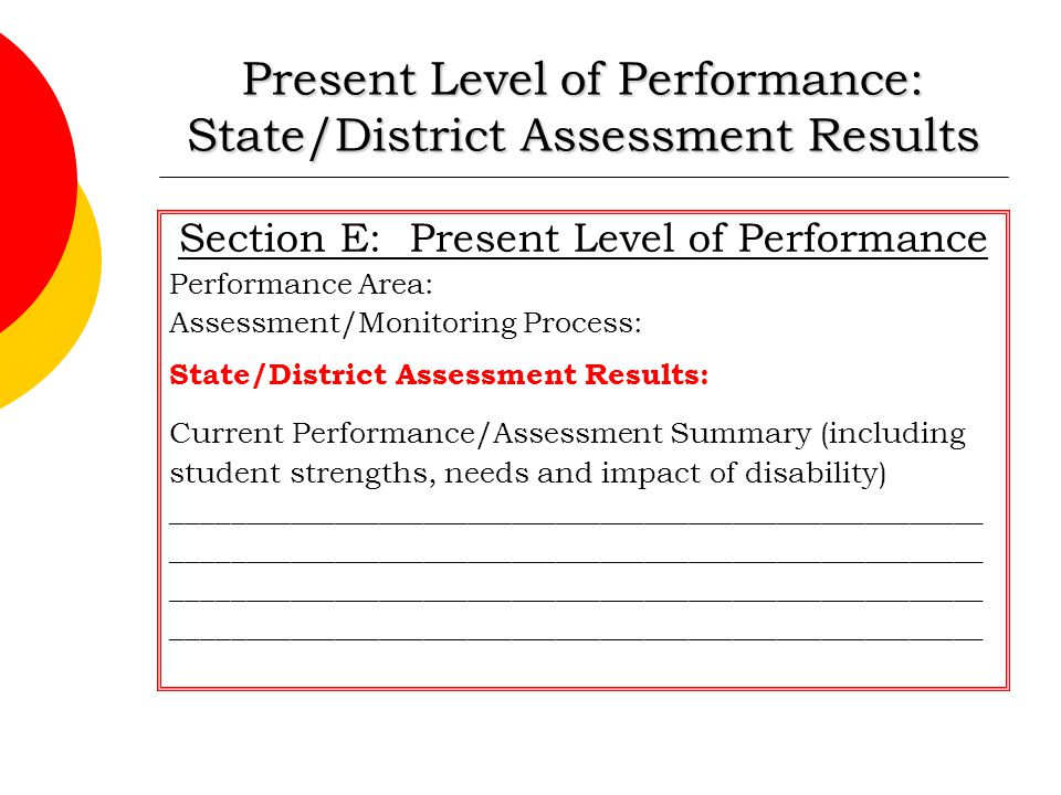 Present Level of Performance: State/District Assessment Results