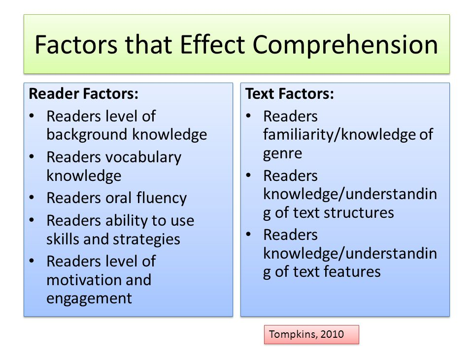 Factors that Effect Comprehension