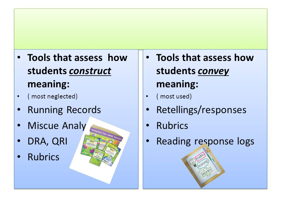 Assessment Tools Tools that assess how students construct meaning: