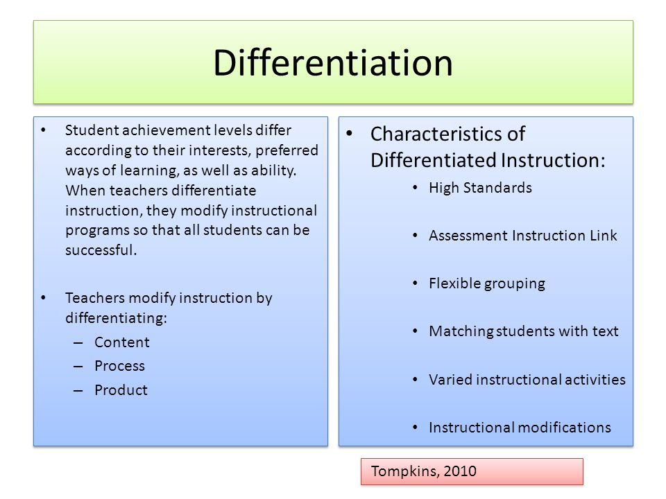 Differentiation Characteristics of Differentiated Instruction: