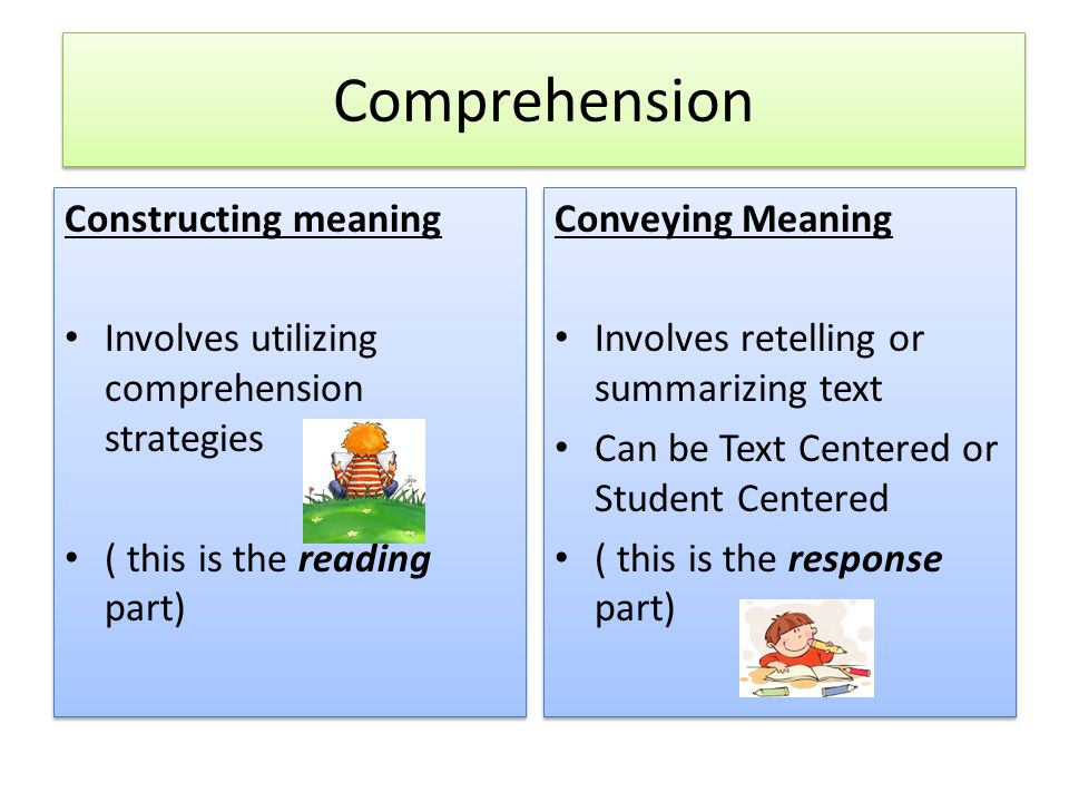 Comprehension Constructing meaning