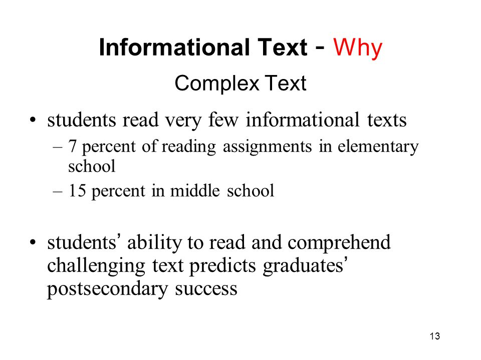 Informational Text - Why Complex Text