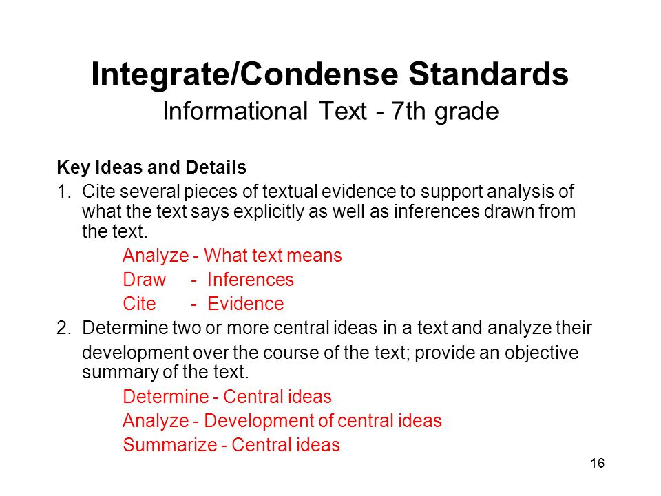 Integrate/Condense Standards Informational Text - 7th grade