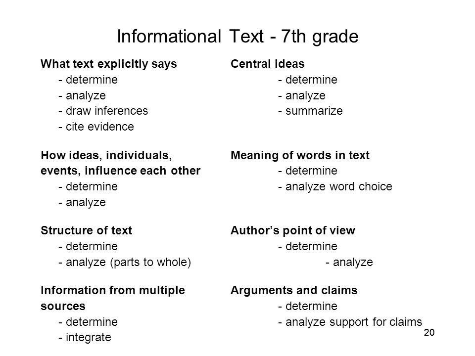 Informational Text - 7th grade