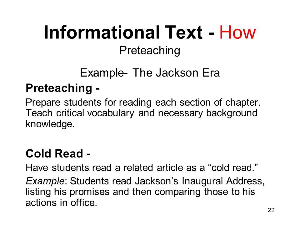 Informational Text - How Preteaching